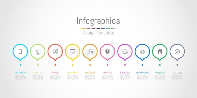 Infographic-Gestaltungselemente f?r Ihre kommerziellen Daten mit 10 Wahlen, Teilen, Schritten, Zeitachsen oder Prozessen Vektor stock abbildung
