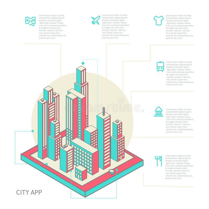 Infographic gjorde av färgrika byggnader stock illustrationer