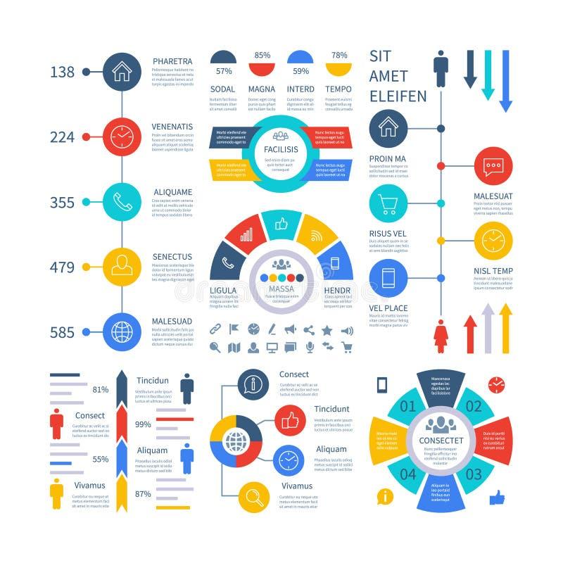 Infographic Gráfico financiero multiusos del márketing de la carta, tabla de proceso, organigrama corporativo del paso de la cron ilustración del vector