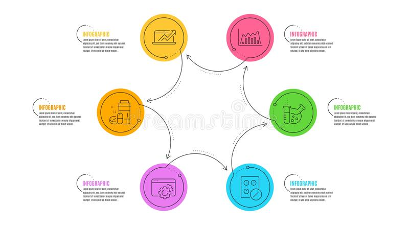 Chemistry lab, Medical tablet and Seo gear icons set. Infographic graph, Sales diagram and Medical drugs signs. Vector. Infographic graph, Sales diagram and stock illustration