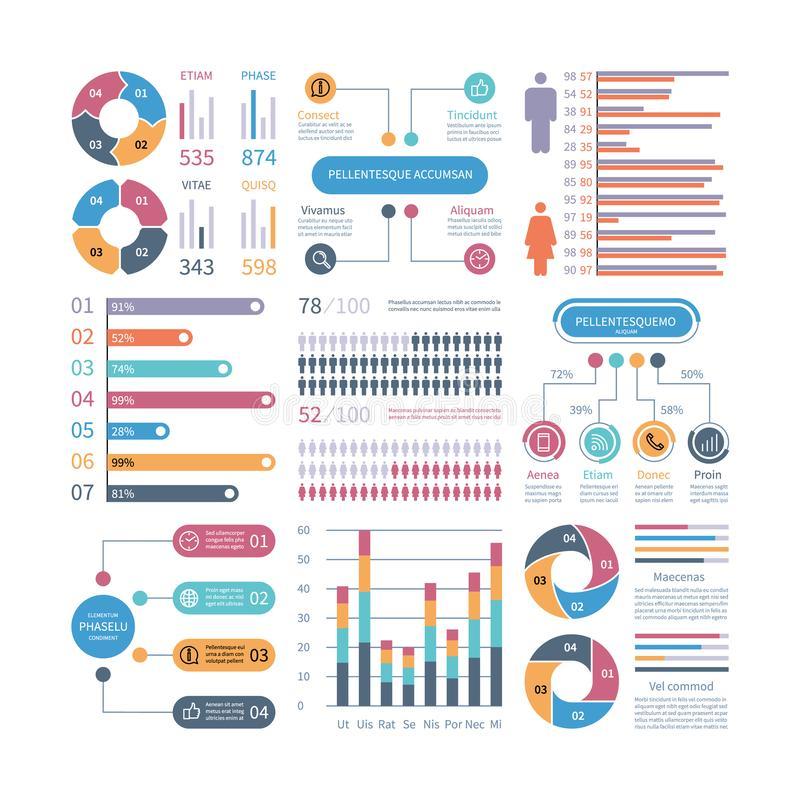 Infographic graphs. Business chart process infochart diagram option flowchart with people icons. Vector financial vector illustration