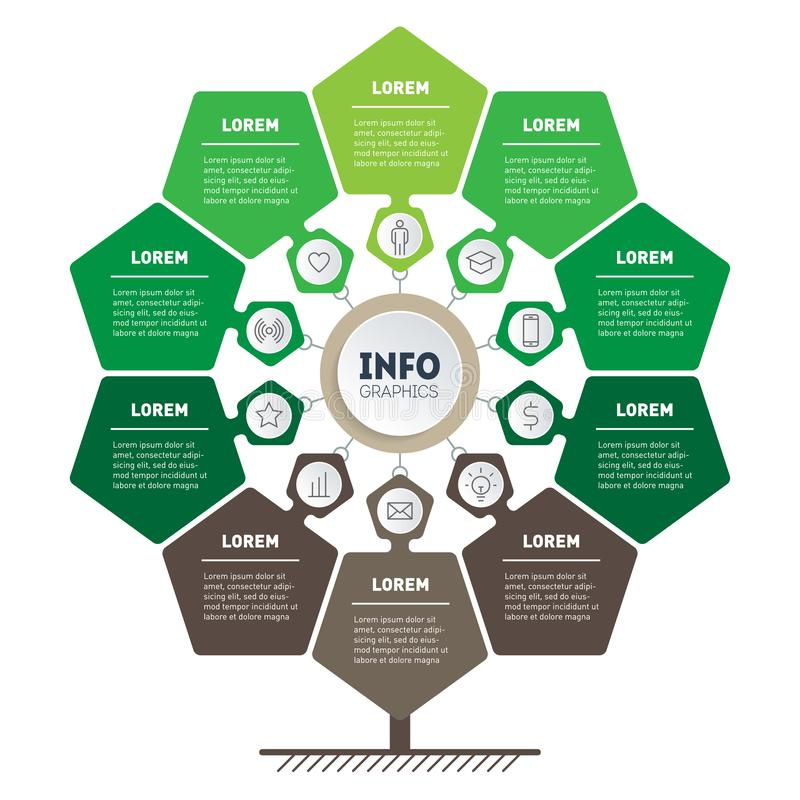 Infographic of green technology or education process with 10 points. Template of tree, info chart or diagram. Eco Business. Presentation concept with ten vector illustration