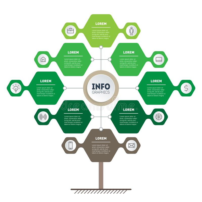 Infographic of green technology or education process with 8 points. Template of tree, info chart or diagram. Eco Business. Presentation concept with eight stock illustration