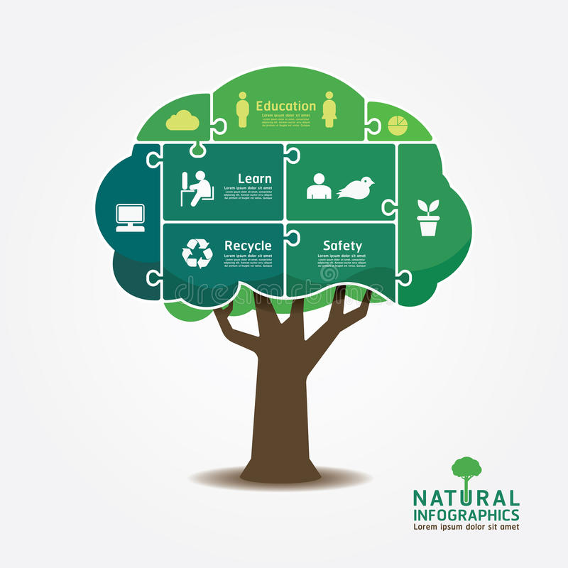Infographic Green Tree jigsaw banner.environment concept vector vector illustration