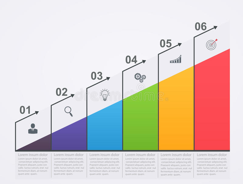 Infographic growth scale with numbers and business icons. royalty free illustration