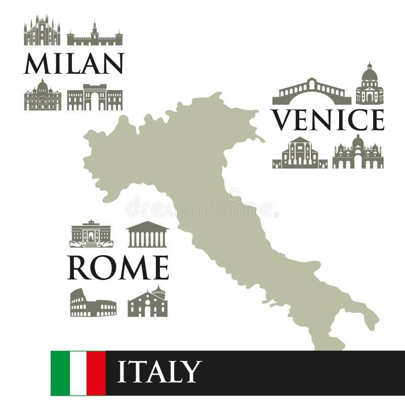 Infographic Höhenlinienkarte von Italien Visiert Symbole der Stadt, nahe der Stadt an Mailand, Rom, Venedig lizenzfreie abbildung