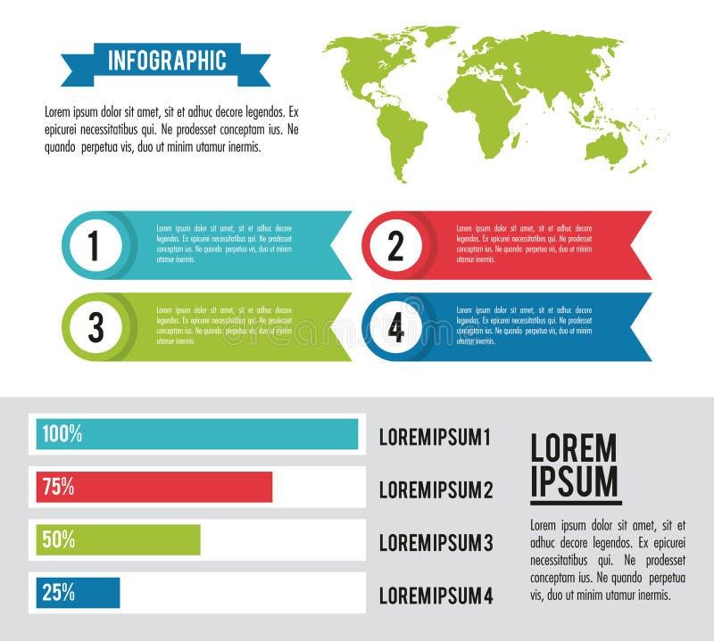 Infographic hel värld royaltyfri illustrationer