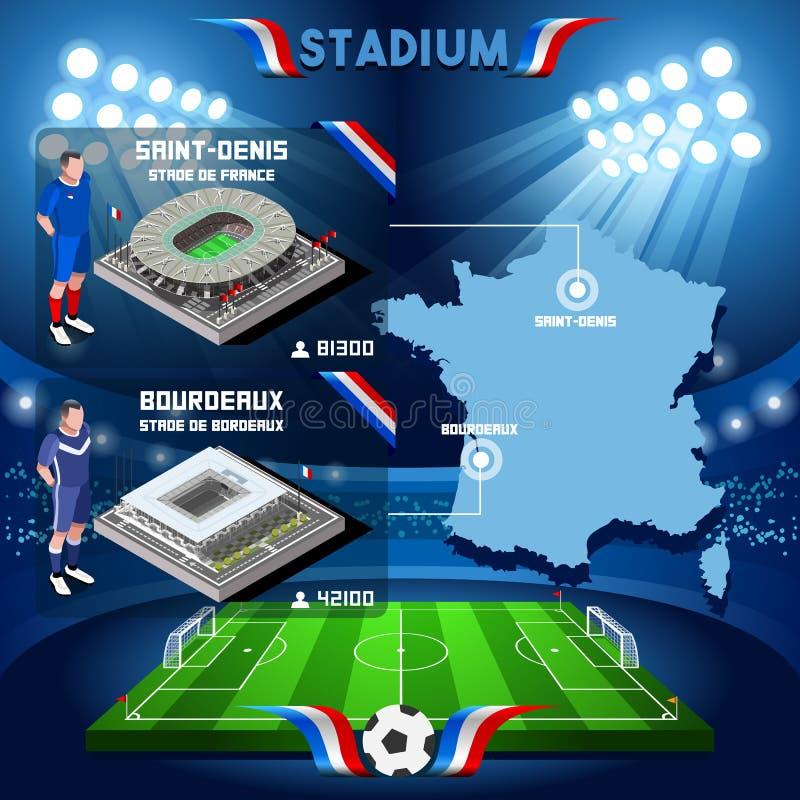 Infographic helgon Denis Stade de France och Bordeaux för Frankrike stadion vektor illustrationer