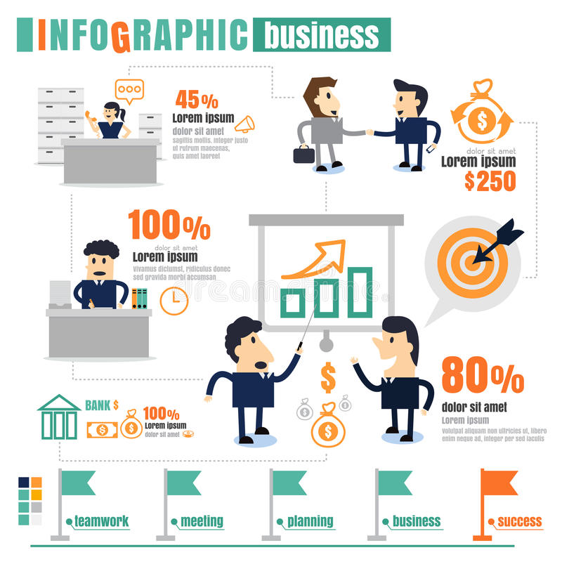 Infographic het Commerciële Teamwerk, succes, mededeling, winsten royalty-vrije illustratie