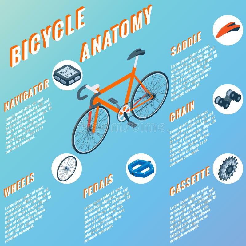 Infographic het concept van de fietsanatomie Vectorreeks isometrische pictogrammen van fietsdelen Fietsvoorwerpen en ontwerp stock illustratie