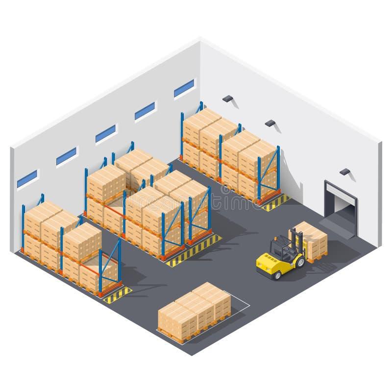 Infographic het element stelt het werk binnen het pakhuis voor, wordt de verzending van goederen uitgevoerd met een vorkheftruck stock illustratie