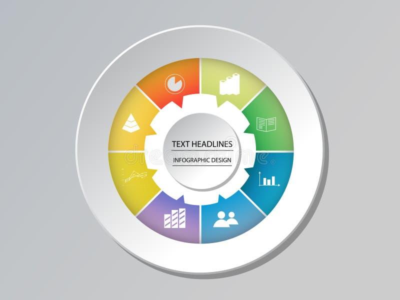 Infographic het malplaatjeopties van de cirkelgrafiek voor presentaties vector illustratie