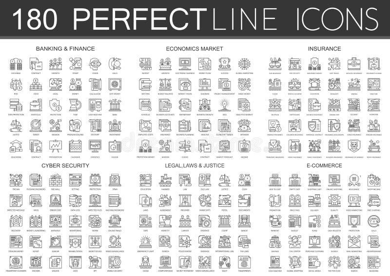 180 infographic het symboolpictogrammen van het overzichts miniconcept van financiënbankwezen, economiemarkt, imsurance, cyber we stock illustratie