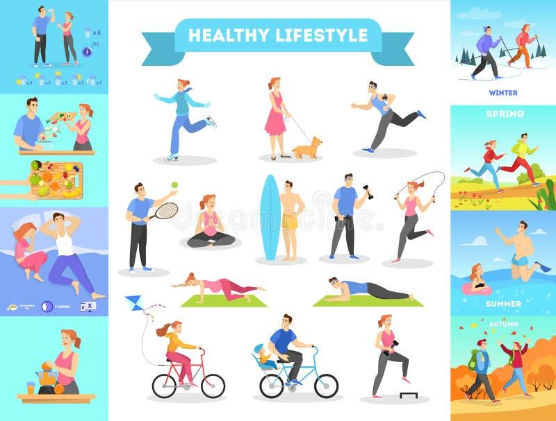 Infographic het Webbanner van de Heallthylevensstijl Dieet en sport stock illustratie