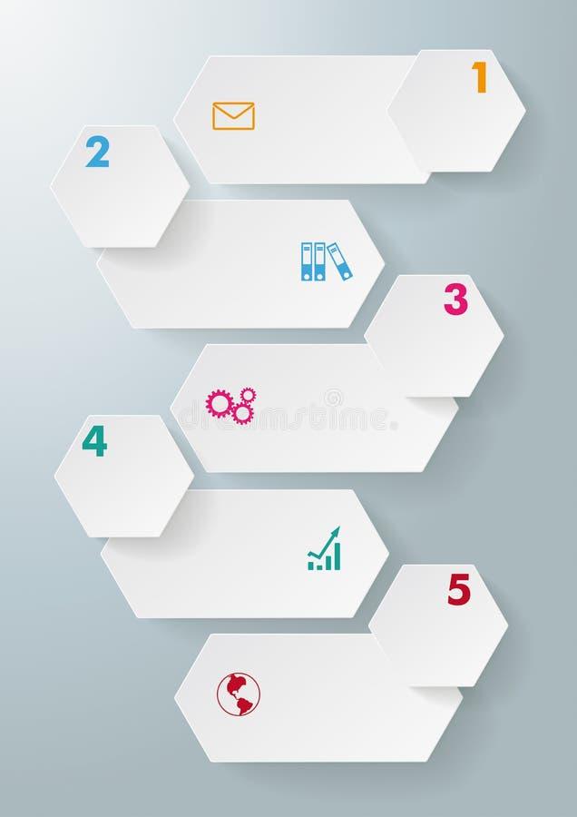 Infographic 5 hexágonos largos de las opciones stock de ilustración