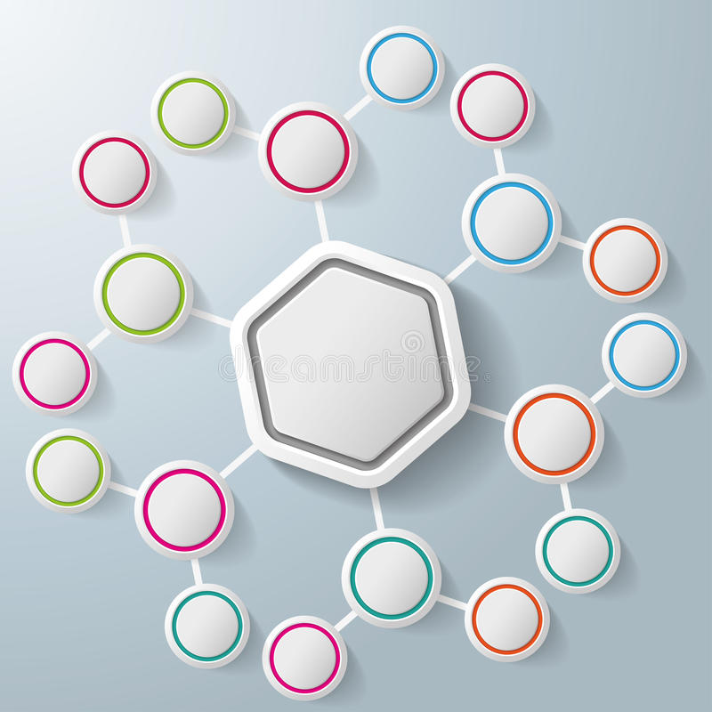 Infographic Hexagon Colorful Rings Benzene vector illustration