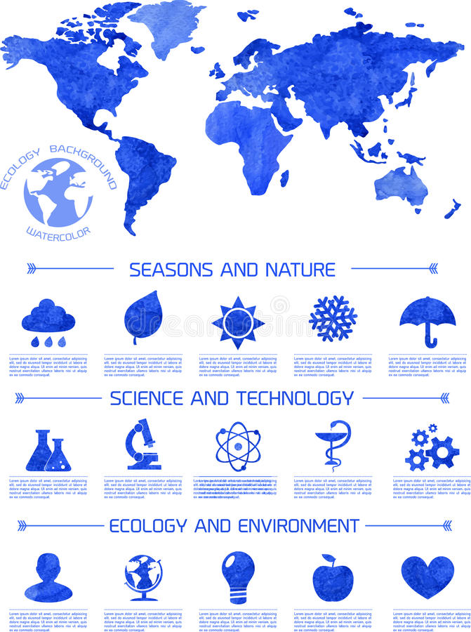 Infographic Hintergrund der Aquarellökologie vektor abbildung