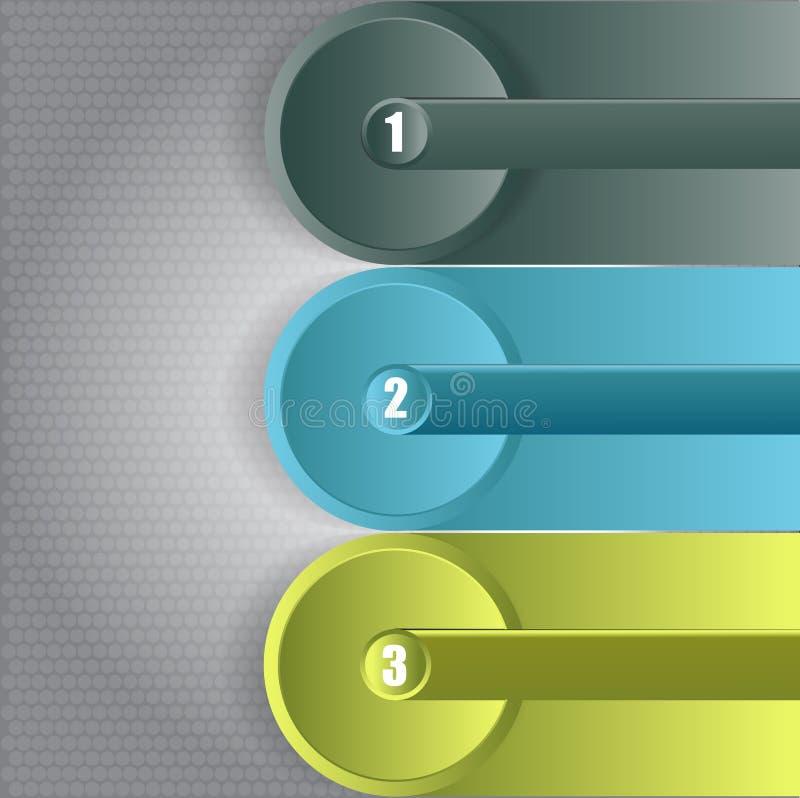 Infographic Hintergrund des abstrakten Vektors mit drei Schritten stock abbildung