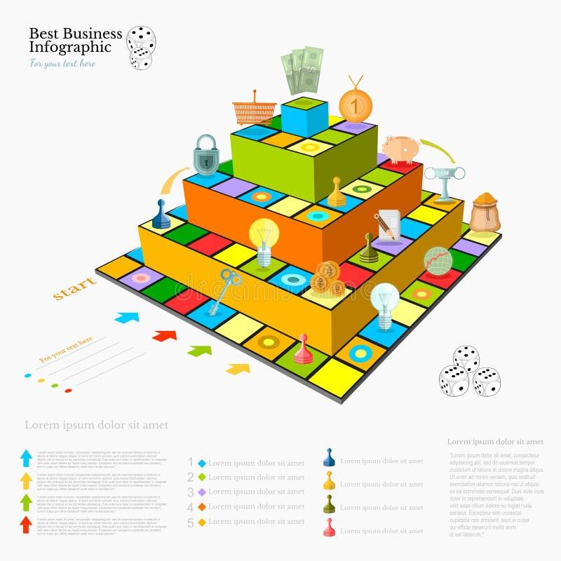 Infographic Hintergrund des flachen Geschäfts mit Finanzbrett piramide Spiel lizenzfreie abbildung