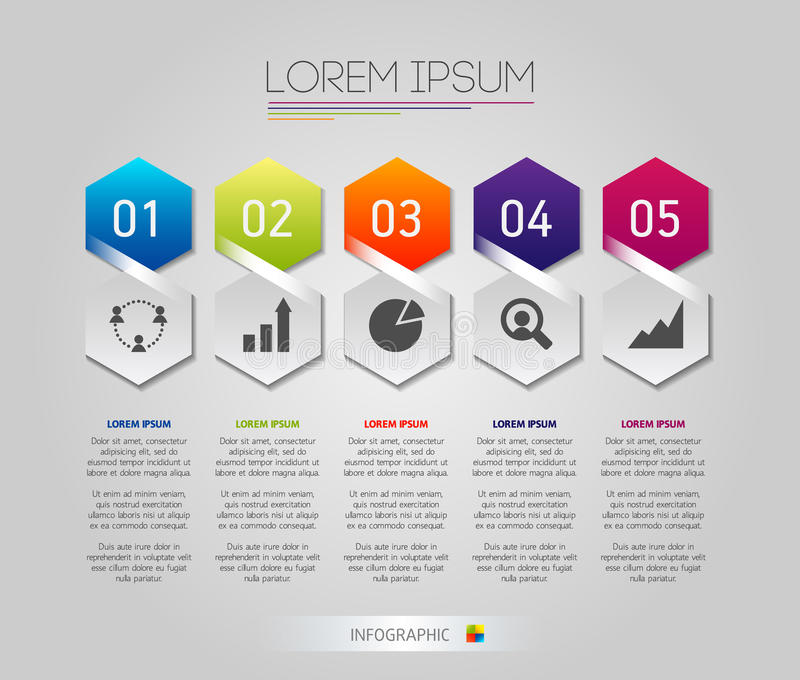 Infographic honeycomb structure elements with icons set on the grey background. Vector graphic business modern template royalty free stock photo