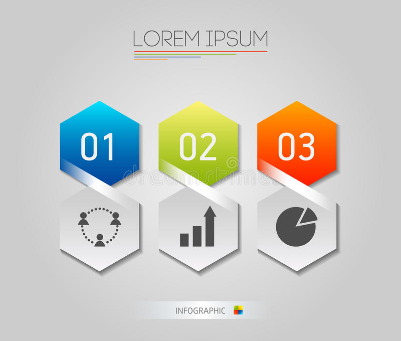Infographic honeycomb structure elements with icons set on the grey background. Vector graphic business modern template stock photo