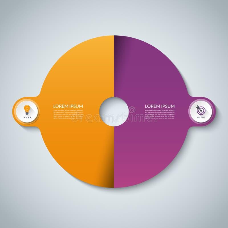infographic i lager separat vektor för elementmapp Cirkelaffärsmall med 2 alternativ stock illustrationer
