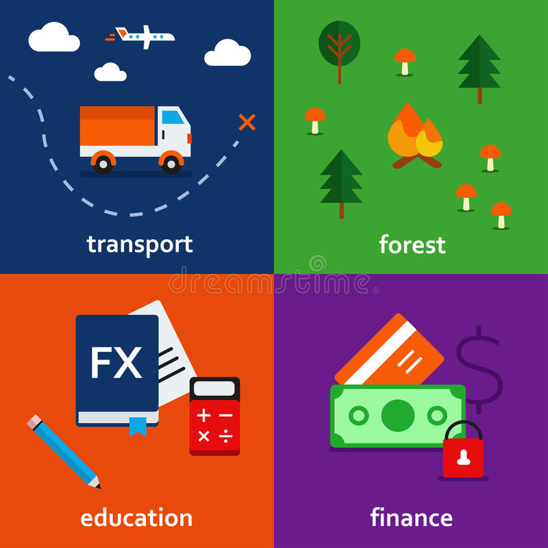 Infographic icon set of transport. forest. education and finance theme vector illustration