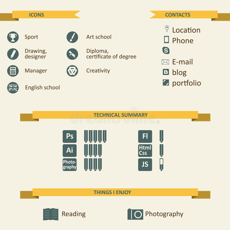 infographic and icons for resume stock vector