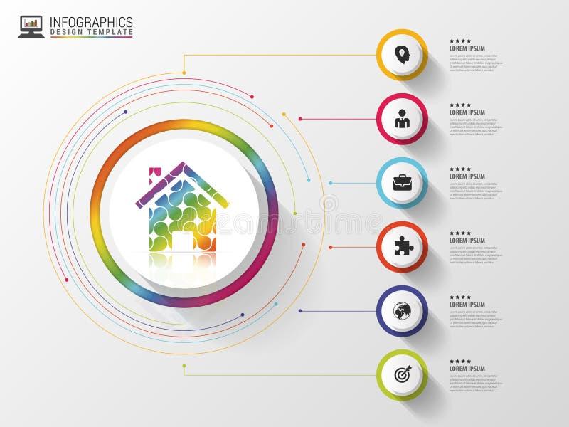 Infographic Idérikt abstrakt hus Färgrik cirkel med symboler också vektor för coreldrawillustration stock illustrationer