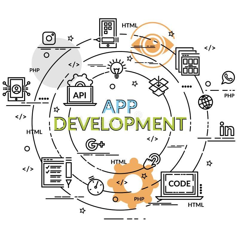 flat colorful design concept for app development stock vector