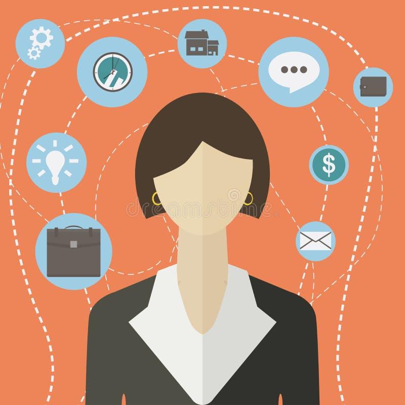 Infographic Ikonencollage der flachen Geschäftsfrau der Art modernen Vector Illustration der Geschäftsfrau mit Tätigkeitslebensst lizenzfreie abbildung