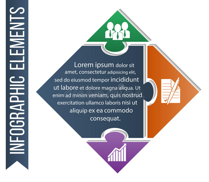 Infographic illustration. Business concept vector included integrated icons of competence, development and bargain. Puzzle piece infographics business concept royalty free illustration