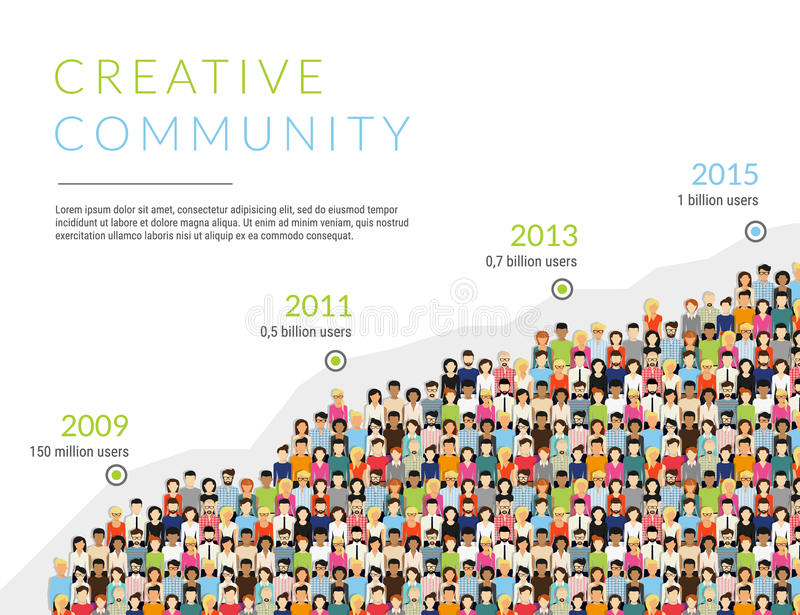 Infographic illustration of community members growth vector illustration