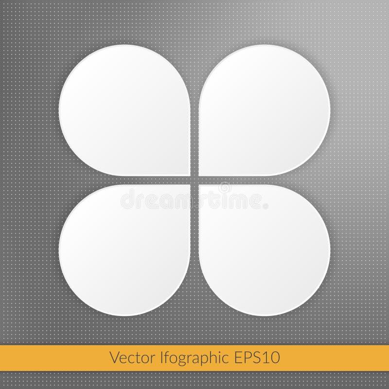 Infographic illustration för fyra moment marknadsföringssymboler Vita vektorbeståndsdelar på prickig bakgrund för grå färger stock illustrationer