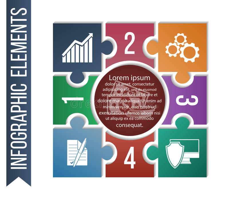 Infographic illustration with integrated business icons for development, investment, solutions, bargain and security. stock illustration