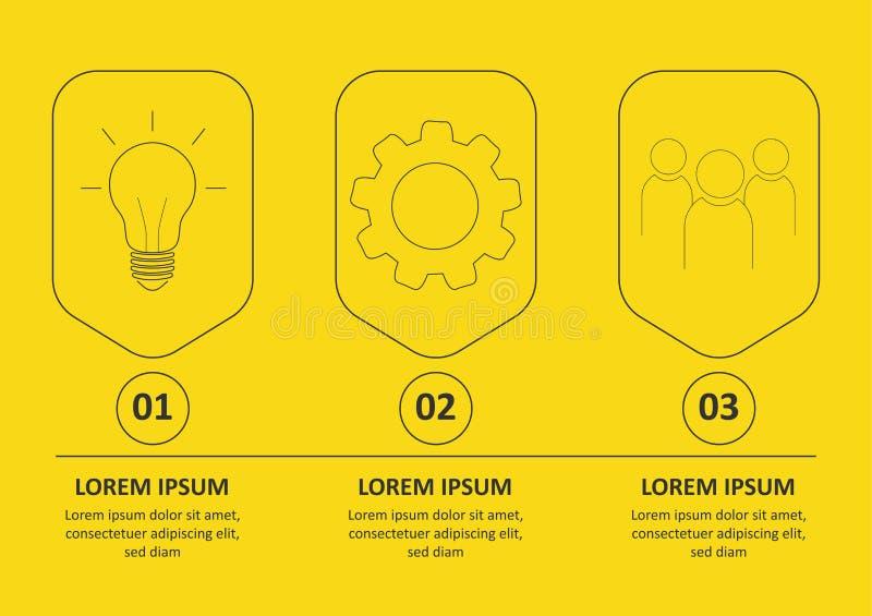 Линия дизайн Infographic вектора тонкая со значками и 3 вариантами или шагами r o иллюстрация вектора