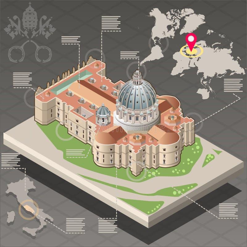 Infographic isométrico de St Peter do Vaticano ilustração do vetor