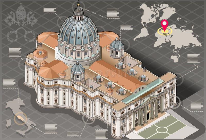 Infographic isométrico de St Peter do Vaticano em Roma ilustração royalty free