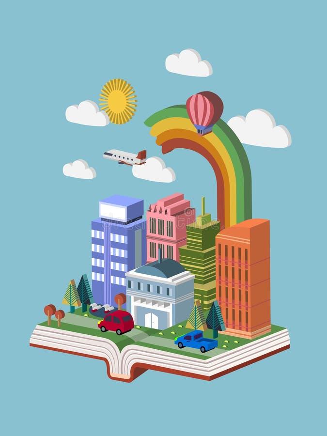 Infographic isométrico del concepto 3d del conocimiento con un libro ilustración del vector