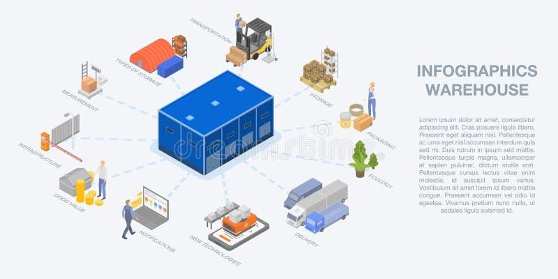 Infographic, isometric ύφος αποθηκών εμπορευμάτων ελεύθερη απεικόνιση δικαιώματος