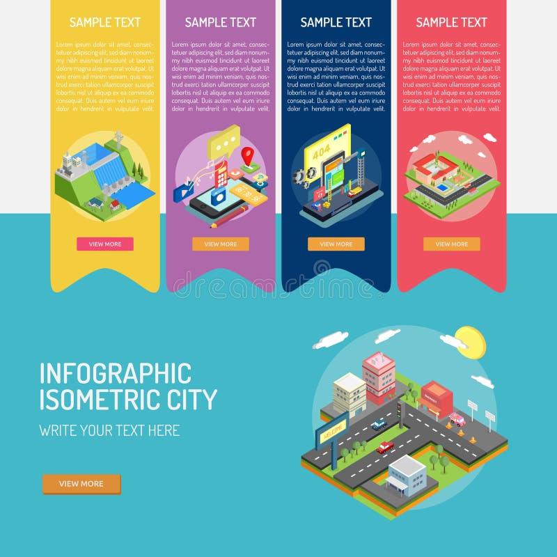 Infographic Isometric City stock illustration