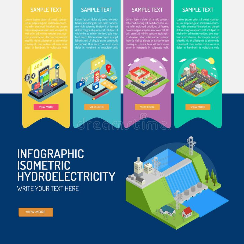 Infographic Isometric Hydroelectricity royalty free illustration