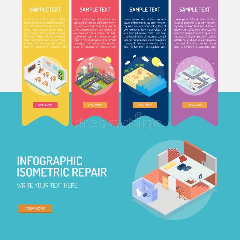 Infographic Isometric naprawa royalty ilustracja