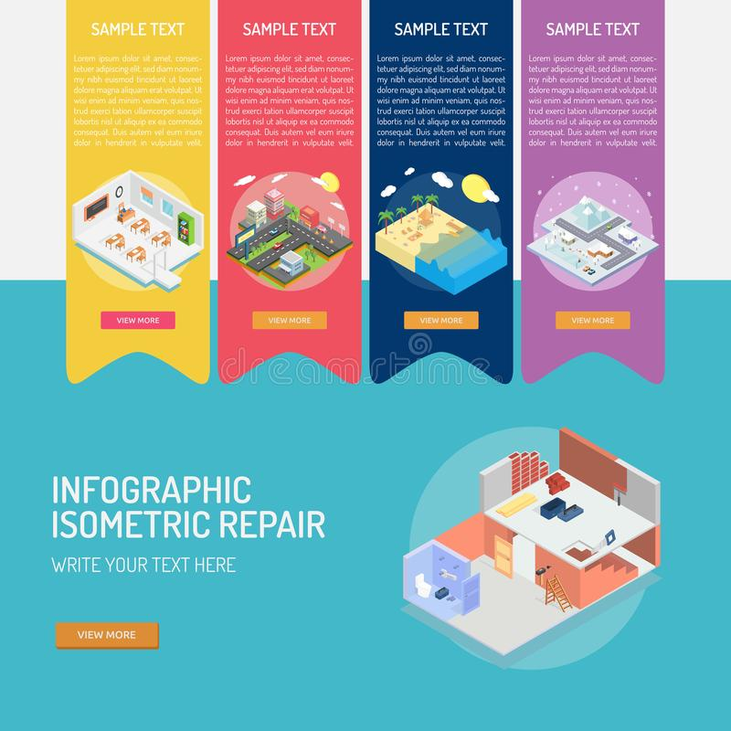 Infographic Isometric Repair royalty free illustration