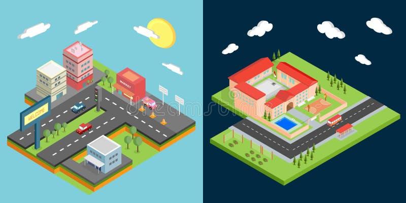Infographic Isometric Set royalty free illustration