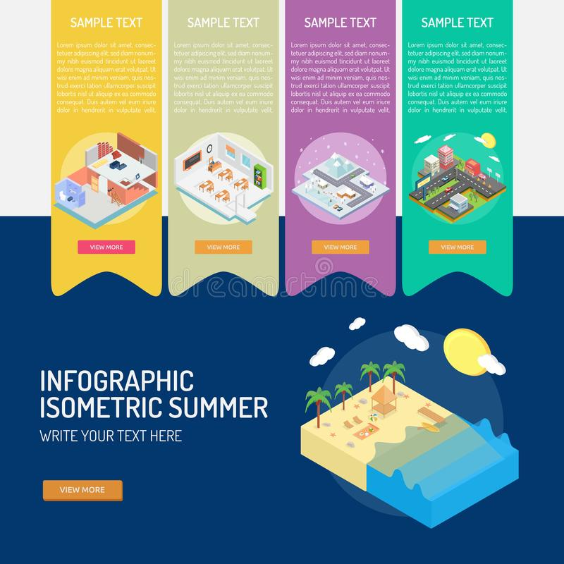 Infographic Isometric Summer vector illustration