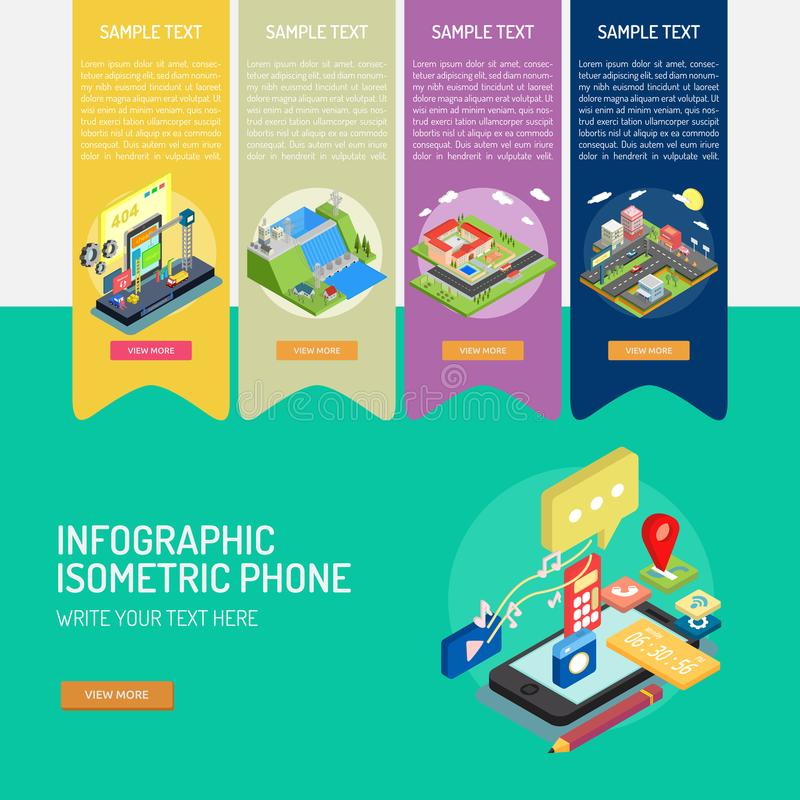 Infographic Isometric telefon royalty ilustracja