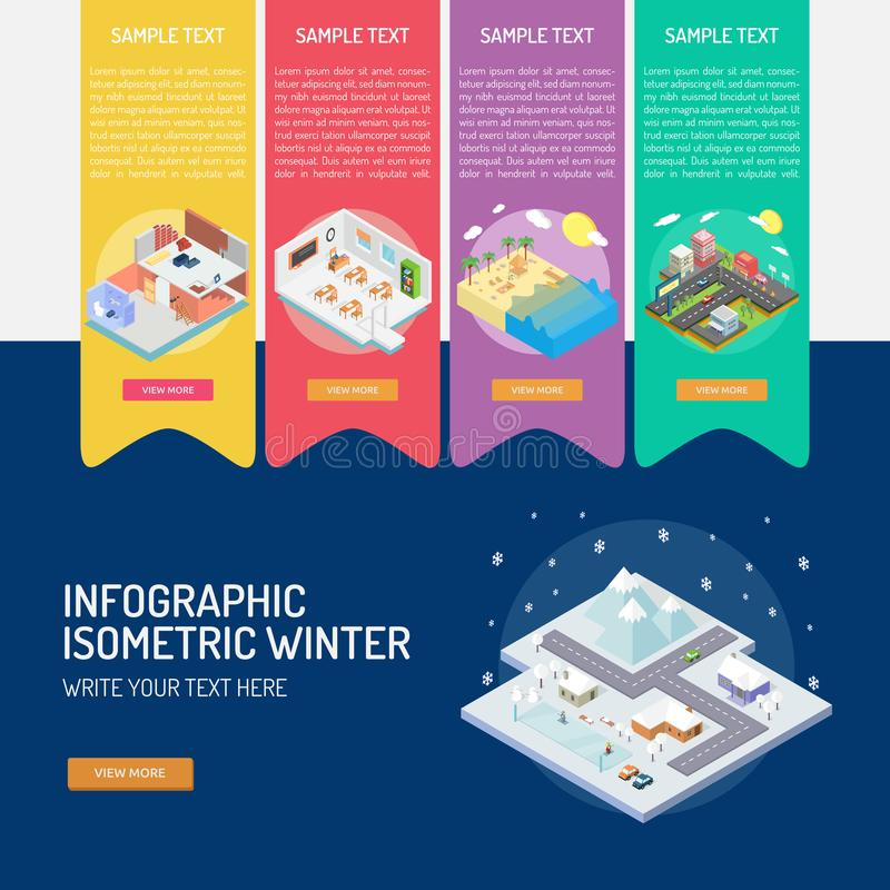 Infographic Isometric Winte royalty free illustration