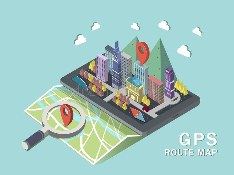 Infographic isometrico della mappa di itinerario di GPS 3d illustrazione di stock