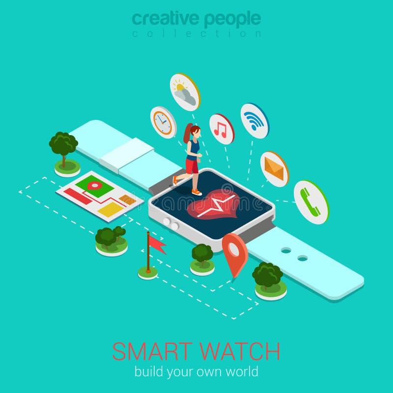Infographic isometrico di vettore astuto dell'orologio di forma fisica: smartwatch di funzionamento illustrazione vettoriale